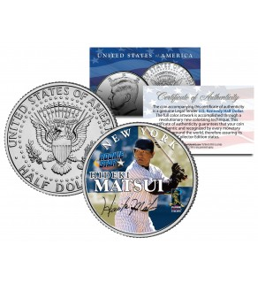 HIDEKI MATSUI JFK Kennedy Half Dollar Colorized US Coin ROOKIE STAR - NEW YORK YANKEES