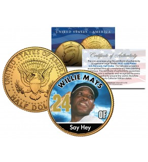 WILLIE MAYS Baseball Legends JFK Kennedy Half Dollar 24K Gold Plated US Coin