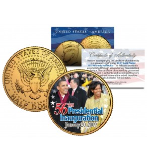 BARACK OBAMA - 56th Inauguration 2009 - 24K Gold Plated JFK Kennedy Half Dollar US Coin