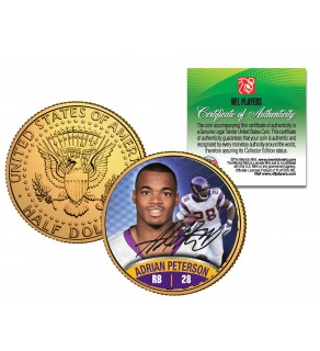 ADRIAN PETERSON JFK Kennedy Half Dollar 24K Gold Plated U.S. Coin MINNESOTA VIKINGS