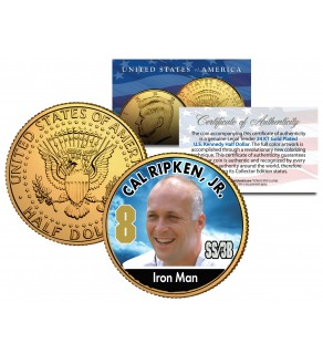 CAL RIPKEN JR. Baseball Legends JFK Kennedy Half Dollar 24K Gold Plated US Coin