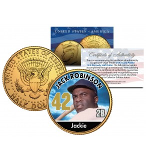 JACKIE ROBINSON Baseball Legends JFK Kennedy Half Dollar 24K Gold Plated US Coin
