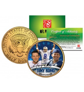 TONY ROMO Colorized JFK Kennedy Half Dollar 24K Gold Plated US Coin DALLAS COWBOYS