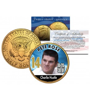 PETE ROSE Baseball Legends JFK Kennedy Half Dollar 24K Gold Plated US Coin
