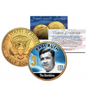 BABE RUTH Baseball Legends JFK Kennedy Half Dollar 24K Gold Plated US Coin
