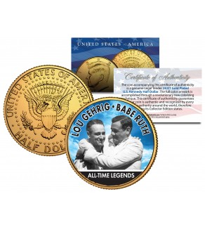 LOU GEHRIG & BABE RUTH Baseball Legends JFK Kennedy Half Dollar 24K Gold Plated US Coin
