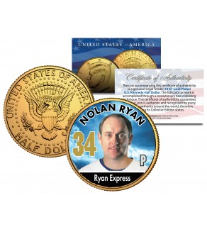NOLAN RYAN Baseball Legends JFK Kennedy Half Dollar 24K Gold Plated US Coin