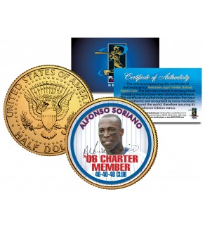 ALFONSO SORIANO Kennedy JFK Half Dollar 24K Gold Plated U.S. Coin 40-40-40 CLUB