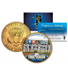 YANKEE STADIUM FINAL SEASON 2008 Kennedy JFK Half Dollar 24K Gold Plated US Coin