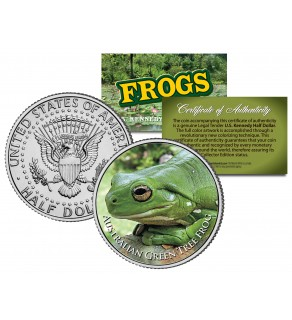 AUSTRALIAN GREEN TREE FROG Collectible Frogs JFK Kennedy Half Dollar US Coin