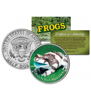 AMAZON BLUE MILK FROG Collectible Frogs JFK Kennedy Half Dollar US Colorized Coin
