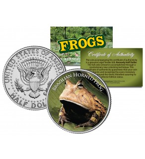 BRAZILIAN HORNED FROG Collectible Frogs JFK Kennedy Half Dollar US Colorized Coin