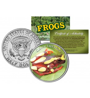 CLOWN TREE FROG Collectible Frogs JFK Kennedy Half Dollar US Colorized Coin