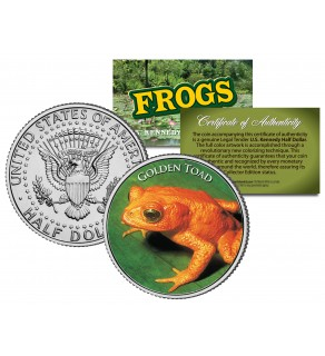 GOLDEN TOAD Collectible Frogs JFK Kennedy Half Dollar US Colorized Coin