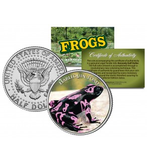 HARLEQUIN TOAD Collectible Frogs JFK Kennedy Half Dollar US Colorized Coin