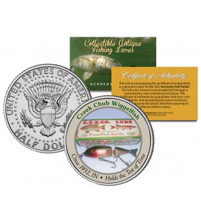 CREEK CHUB WIGGLEFISH Collectible Antique Fishing Lures JFK Kennedy Half Dollar US Coin