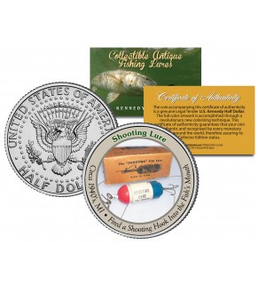 SHOOTING LURE Collectible Antique Fishing Lures JFK Kennedy Half Dollar US Coin