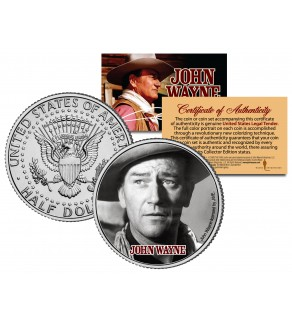 "JOHN WAYNE - MOVIE "" Fort Apache "" JFK Kennedy Half Dollar US Coin - Officially Licensed"