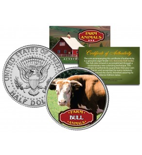 BULL Collectible Farm Animals JFK Kennedy Half Dollar U.S. Colorized Coin