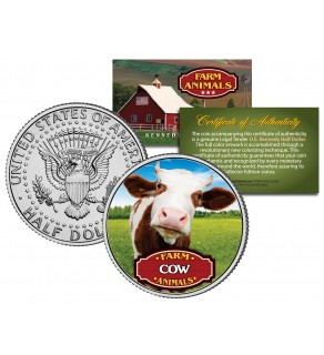 COW Collectible Farm Animals JFK Kennedy Half Dollar U.S. Colorized Coin