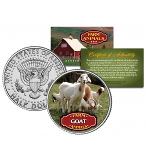 GOAT Collectible Farm Animals JFK Kennedy Half Dollar U.S. Colorized Coin