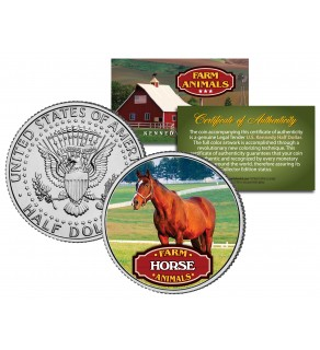 HORSE Collectible Farm Animals JFK Kennedy Half Dollar U.S. Colorized Coin