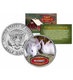 RABBIT Collectible Farm Animals JFK Kennedy Half Dollar U.S. Colorized Coin