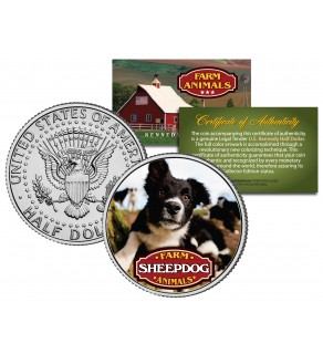 SHEEPDOG Collectible Farm Animals JFK Kennedy Half Dollar US Colorized Coin