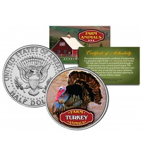 TURKEY Collectible Farm Animals JFK Kennedy Half Dollar US Colorized Coin