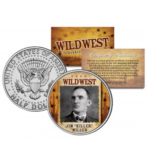 "JIM ""KILLER"" MILLER - Wild West Series - JFK Kennedy Half Dollar U.S. Colorized Coin"