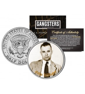 JOHN DILLINGER Gangsters JFK Kennedy Half Dollar US Colorized Coin