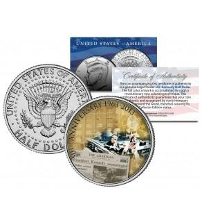 PRESIDENT KENNEDY ASSASSINATION - 50th Anniversary - JFK Kennedy Half Dollar U.S. Colorized Coin