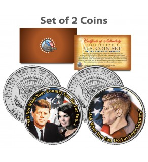 PRESIDENT JOHN F. KENNEDY - Jackie/John Jr. - Famous Quote on JFK Kennedy Half Dollar U.S. 2-Coin Set