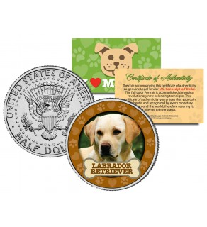 LABRADOR RETRIEVER Dog JFK Kennedy Half Dollar U.S. Colorized Coin