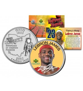 LEBRON JAMES Colorized Ohio Statehood Quarter U.S. Coin - ROOKIE - Officially Licensed