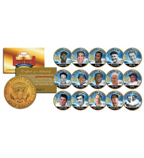 GOLDEN BASEBALL LEGENDS Colorized JFK Half Dollars 15-Coin Set 24K Gold Plated - Officially Licensed