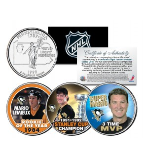 MARIO LEMIEUX - ROY - Champion - MVP - Colorized Pennsylvania State Quarter US 3-Coin Set - Officially Licensed