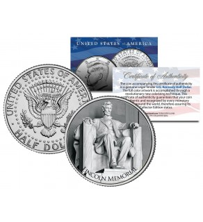 LINCOLN MEMORIAL - Washington D.C. - JFK Kennedy Half Dollar U.S. Coin