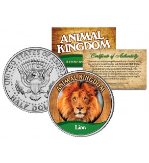 LION - Animal Kingdom Series - JFK Kennedy Half Dollar U.S. Colorized Coin