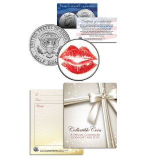RED LIPS - KISS - RED LIPSTICK - JFK Kennedy Half Dollar US Colorized Coin