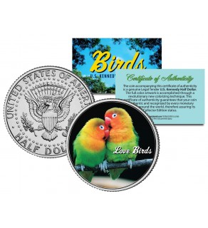 LOVE BIRDS Collectible Birds JFK Kennedy Half Dollar Colorized US Coin