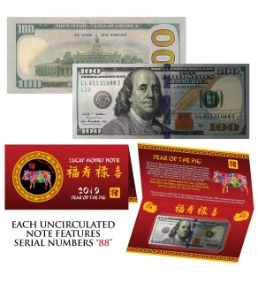 2019 CNY Chinese YEAR of the PIG Lucky Money S/N 88 U.S. $100 Bill w/ Red Folder