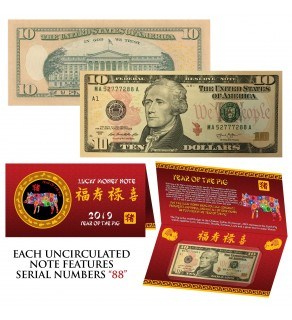 2019 CNY Chinese YEAR of the PIG Lucky Money S/N 88 U.S. $10 Bill w/ Red Folder