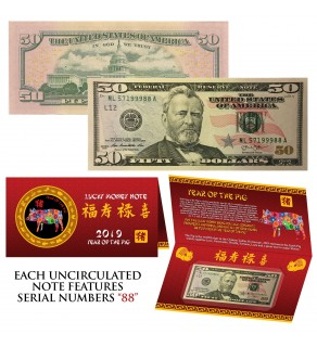 2019 CNY Chinese YEAR of the PIG Lucky Money S/N 88 U.S. $50 Bill w/ Red Folder