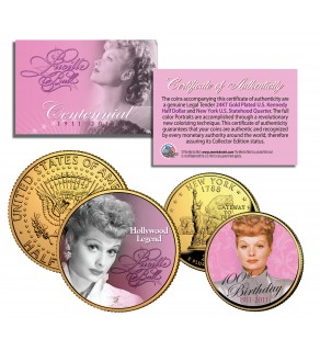 LUCILLE BALL 100th Birthday NY Quarter & JFK Half Dollar 2-Coin Set I LOVE LUCY 24K Gold Plated - Officially Licensed