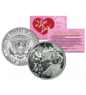 I Love Lucy - Hawaiian Vacation - JFK Kennedy Half Dollar US Coin - Lucille Ball - Officially Licensed
