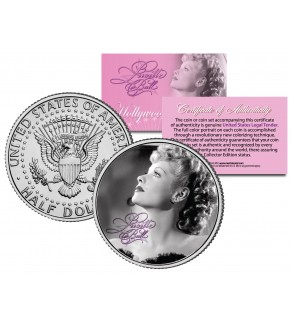 Lucille Ball - I Love Lucy Profile - JFK Kennedy Half Dollar US Coin - Officially Licensed