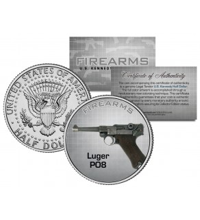 LUGER PO8 Gun Firearm JFK Kennedy Half Dollar US Colorized Coin