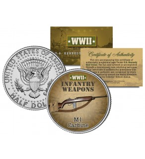 M1 CARBINE - WWII Infantry Weapons - JFK Kennedy Half Dollar U.S. Coin