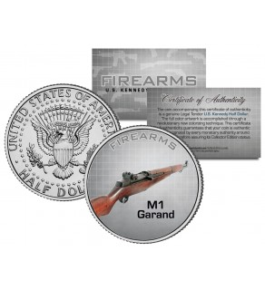 M1 GARAND Gun Firearm JFK Kennedy Half Dollar US Colorized Coin